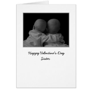 twins hugging photograph valentines day card