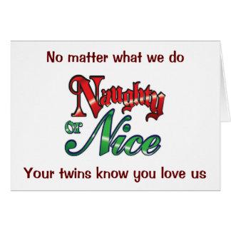 TWINS HUMOR NAUGHTY/NICE TO PARENTS AT CHRISTMAS CARD