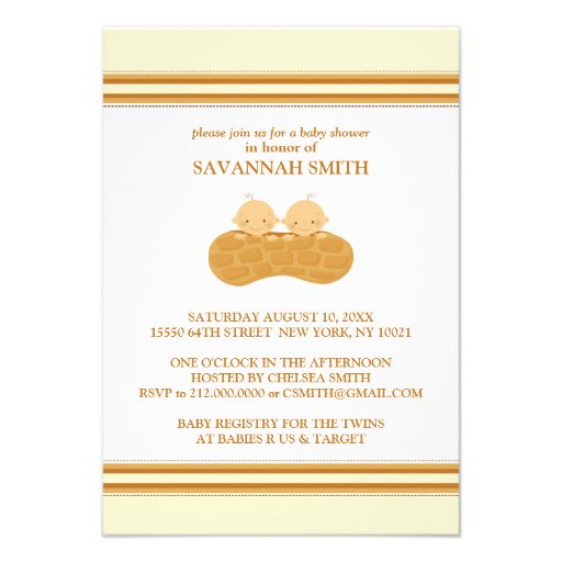 Twins in a Peanut Shell Baby Shower Invitations