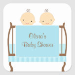 Twins in Blue Crib Stickers Stickers