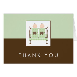 Twins in Crib Baby Shower Thank You Cards