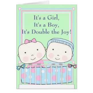 twins in crib girl and boy baby card
