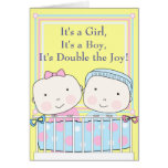 Twins in Crib, Girl and Boy Baby Cards
