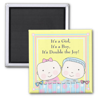 Twins in Crib, Girl and Boy Baby Magnet