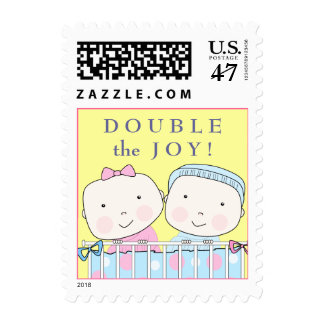 Twins in Crib, Girl and Boy Baby Postage
