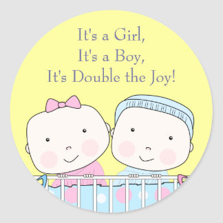 Twins in Crib Girl and Boy Baby Sticker