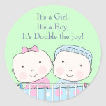 Twins in Crib, Girl and Boy Baby Sticker