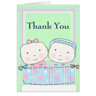 Twins in Crib, Girl and Boy Baby Thank You Card