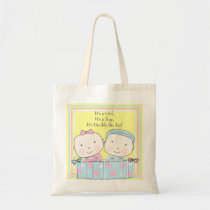 Twins in Crib, Girl and Boy Baby Tote Bag