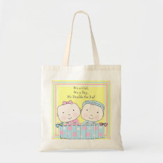 Twins in Crib, Girl and Boy Baby Tote Bag at Zazzle