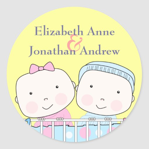 Twins in Crib, Girl and Boy Names Sticker