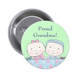 Twins in Crib, Grandparent Pin