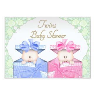 Twins in Gift Box Roses Baby Shower Card