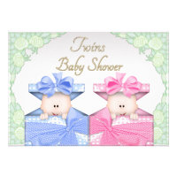 Twins in Gift Box Roses Baby Shower Personalized Invitation