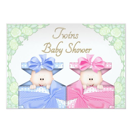 Gift Box Baby Shower Invitations : Twins in gift box roses baby shower paper invitation