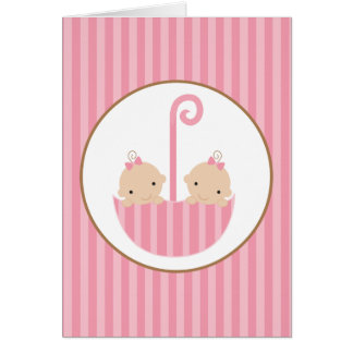 Twins in Umbrella Card