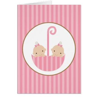 Twins in Umbrella Card