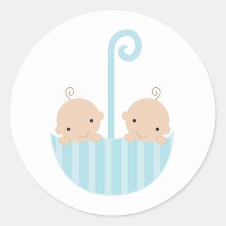 Twins in Umbrella Classic Round Sticker