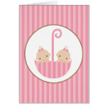 Twins in Umbrella Stationery Note Card