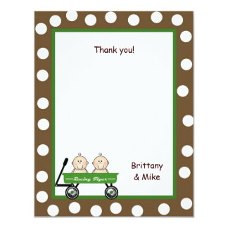 Twins in Wagon Baby Shower Thank You Notes Card
