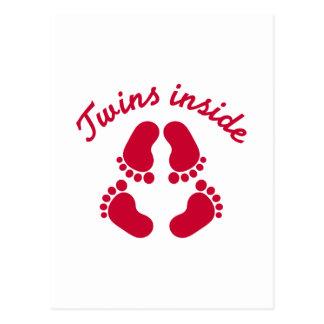 Twins inside baby feet postcard