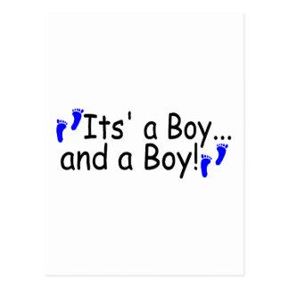 Twins Its a Boy and a Boy Postcard
