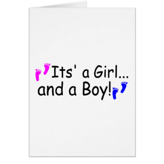 Twins Its A Girl And A Boy Baby Footprints Greeting Cards