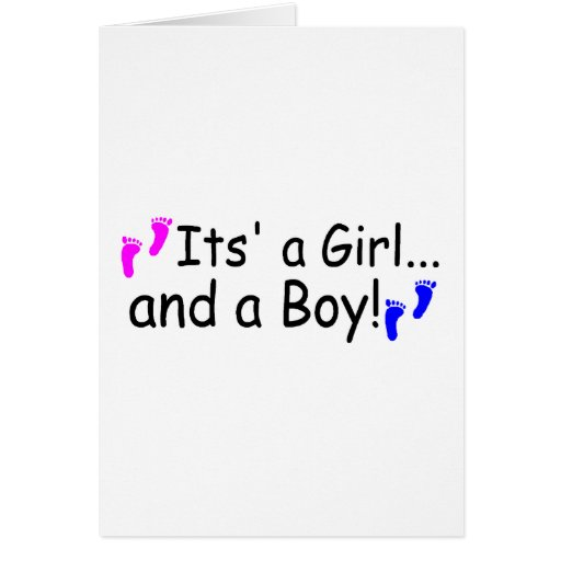 Twins Its A Girl And A Boy Baby Footprints Greeting Card