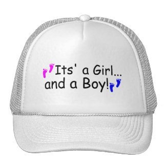 Twins Its A Girl And A Boy Baby Footprints Mesh Hats