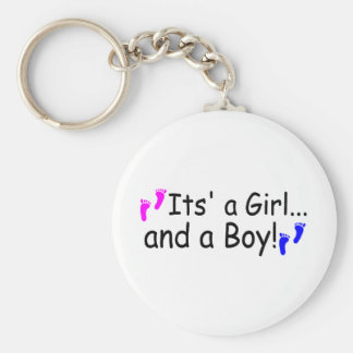 Twins Its A Girl And A Boy Baby Footprints Keychain