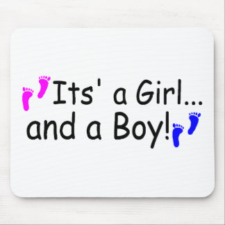 Twins Its A Girl And A Boy Baby Footprints Mousepads