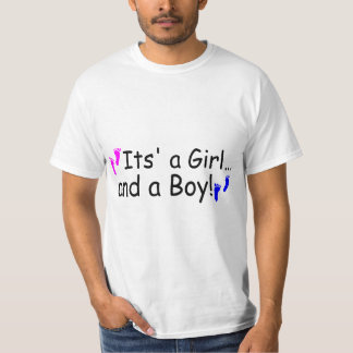 Twins Its A Girl And A Boy Baby Footprints T-Shirt