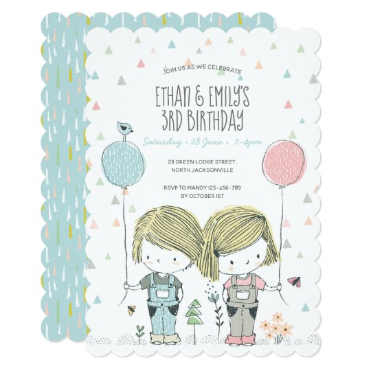 Twins Kids Birthday Invitation Whimsical