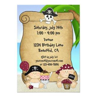 Twins Little Buccaneer 1st Birthday Pirate Invitation
