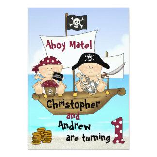 "Twins Little Buccaneer 1st Birthday Pirate Invite 5"" X 7"" Invitation Card"