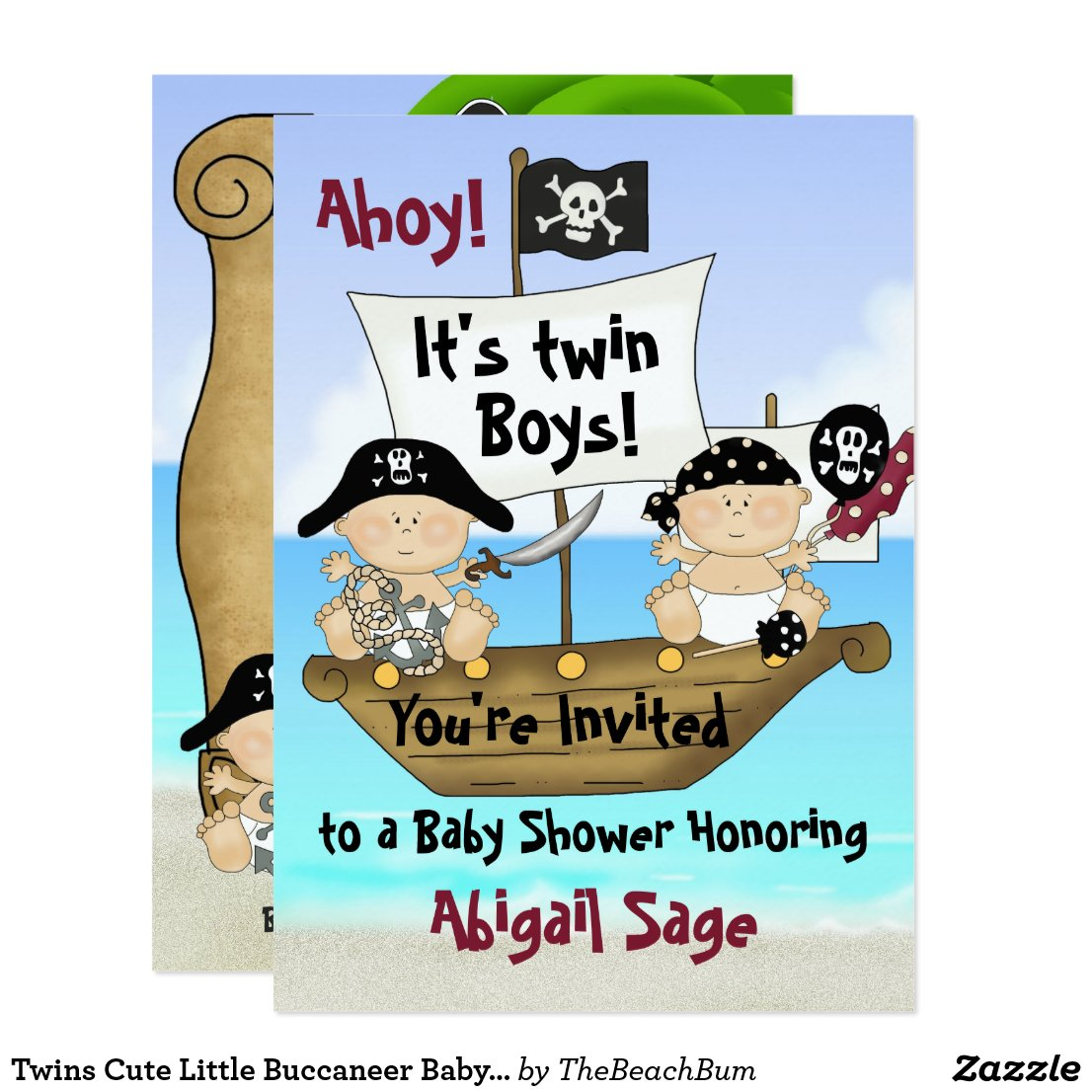 Twins Little Buccaneer Baby Shower Pirate Invite