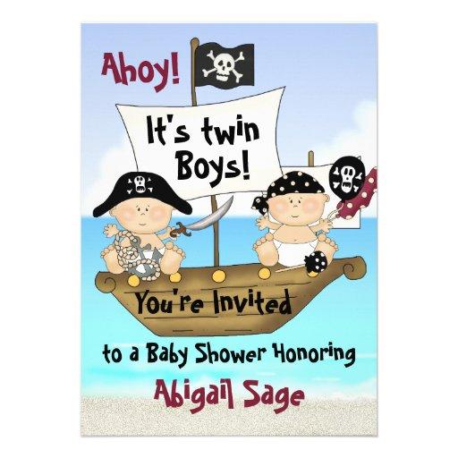 Twins Little Buccaneer Baby Shower Pirate Invite