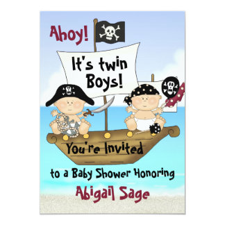 "Twins Little Buccaneer Baby Shower Pirate Invite 5"" X 7"" Invitation Card"