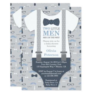 Twins Little Man Baby Shower Invitation, Blue Gray Card at Zazzle