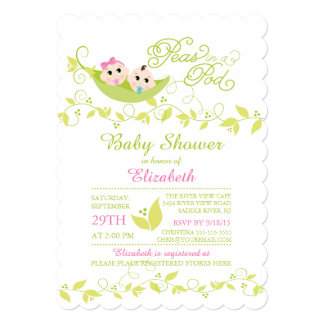 Twins Little Peas Girl Boy Baby Shower Invitation