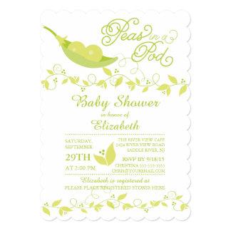 Twins Little Peas Neutral Baby Shower Invitation