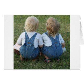 twins looking away card