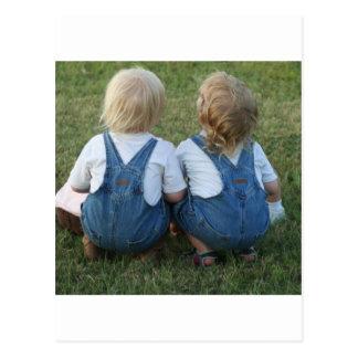twins looking away postcard