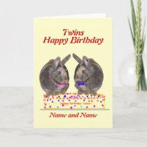 Twins male female birthday card