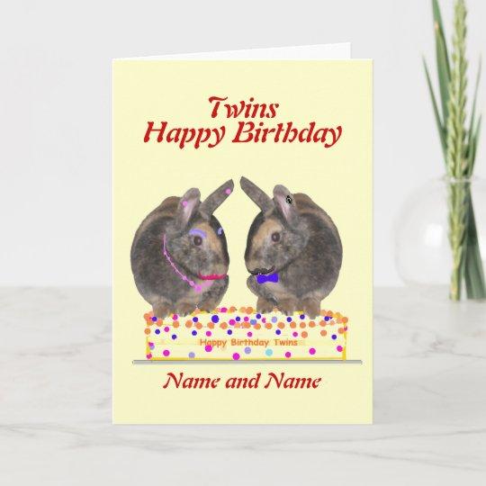 Twins Male Female Birthday Card Zazzle