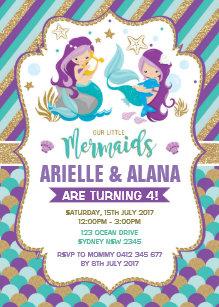 Twin birthday invitations zazzle twins mermaid birthday invitation girls pool party filmwisefo