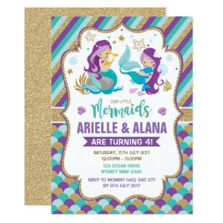 Twins Mermaid Birthday Invitation Girls Pool Party
