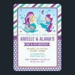 """Twins Mermaid Birthday Invitation Sisters Siblings<br><div class=""""desc"""">Twins Mermaid Birthday Party Invite</div>"""