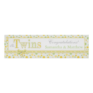 TWINS Mint Green Yellow Dots Baby Shower Banner Poster