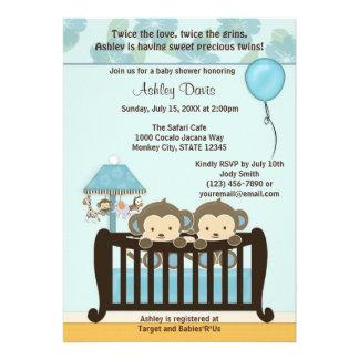 TWINS Monkey Baby Shower Invitation Crib BLUE CJ-B